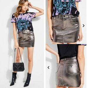 Guess High Gloss Metallic Bodycon Skirt